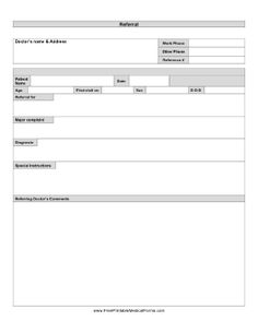 A form for a doctor to send to another doctor when referring a patient for treatment. Free to download and print
