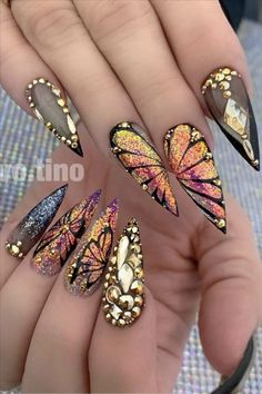 Natural butterfly nails design for long nails 2020 - Abby FASHION STYLE,Natural butterfly nails design for long nails 2020 - Abby FASHION STYLE Honeycomb Nail Art View We loved this nail art model, which will be reminiscen. Butterfly Nail Designs, Butterfly Nail Art, Cute Acrylic Nail Designs, Best Acrylic Nails, Nail Art Designs, Nails Design, Unique Nail Designs, Bling Nails, Swag Nails