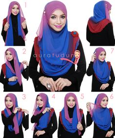 Shawl wrap Hijab Niqab, Hijab Outfit, Neck Scarves, Head Scarfs, How To Wear Hijab, Simple Hijab, Hijab Style Tutorial, Islamic Fashion, Fashion Quotes