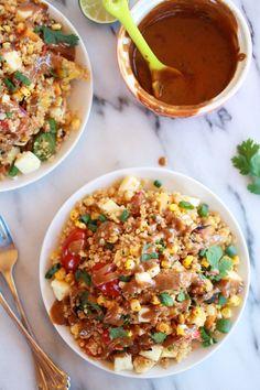 BBQ Grilled Corn, Jalapeño and Peach Quinoa Salad.