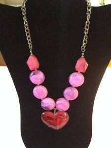Lovely Fashion Necklace with Pink Stones & Large Red Swirl Heart