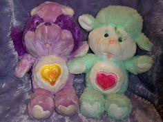 Vintage 1984 Care Bear Cousins Plush Lot Bright Heart Raccoon Gentle Heart Lamb