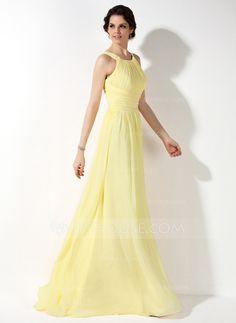 A-Line/Princess Scoop Neck Floor-Length Chiffon Bridesmaid Dress With Ruffle (007022521)