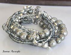 Handmade  Chunky Silver Glass  Pearl Bridal by HMbySemraAscioglu, $53.00