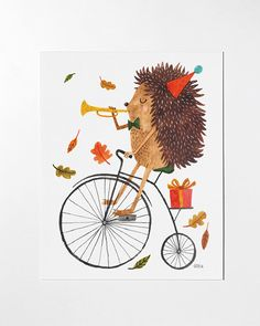 8x10 Hedgehog art print by oanabefort on Etsy