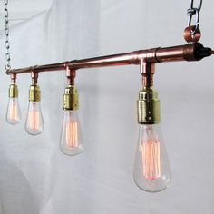 Bring a piece of industrial art into your home or office with this eye catching copper suspended strip light with vintage light bulbs.Cable is available in a selection of colours. Cable can be in a twisted or round style, see pictures. All of the availabl bulbs are 40W - E27 and have a estimated life of 3000 hours. If you have any requestsor questions feel free to ask via the ''Ask Seller A Question'' button.The perfect poduct to susped over the dining table, very easy install, requests ...
