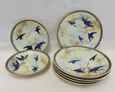 Nippon Porcelain Swallows Birds Painted 5 Plates 2 Small Plates