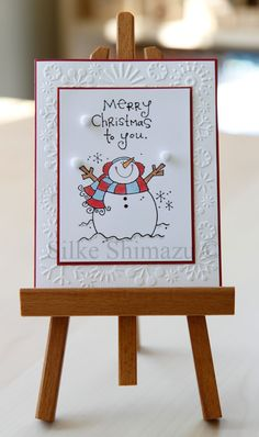 Penny Black Warm & Cold Snowman card red