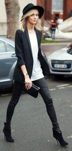 Black blazer, skinnies and white blouse with handbag