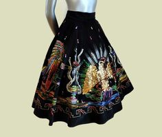 Vintage Mexican skirts Use a black velvet painting for this.