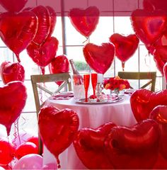 Lots of heart balloons make a romantic and fun-filled dinner for Valentine's Day