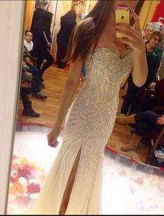 Luxurious Mermaid Strapless Slit Long 2015 Discounted Prom Dresses Evening Dresses Formal Dresses