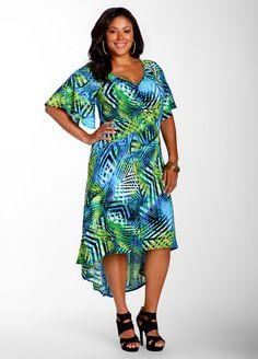Ashley Stewart: Rouche Print Dress