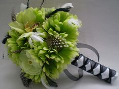 LIMELIGHT Wedding Bouquet And Boutonniere With by Ardesign on Etsy, $110.00