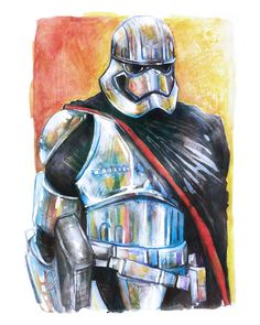 Captain Phasma Star Wars 8 x 10 Colorful by LemonWatercolor  #StarWars #CaptainPhasma #TheForceAwakens