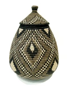 Zulu Ukhamba Basket (Large) - Just Africa Art Gallery and Retail Shop - Buy Handcrafted Art and Gifts from a Reputable Art Dealer