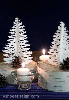 A Winter Centerpiece using birch, pinecones and silhouette trees by ashbeedesign.com
