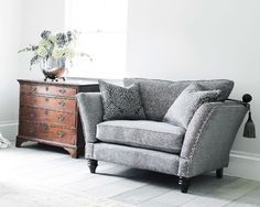Ampleforth Snuggler is an ideal accent piece to finish off your room setting while keeping the design consistent or as a stand alone statement love seat. Available as a fixed back or with Knole Furniture, Room Set, Contemporary Recliner Chairs, Stylish Sofa, Chair, House Interior, Snuggle Chairs, Luxury Fabric Sofas, Fabric Sofa