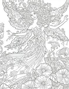 Angel Coloring Pages, Dragon Coloring Page, Printable Adult Coloring Pages, Coloring Books, Free Colouring Pages, Flower Phone Wallpaper, Mandala Coloring, Bunt, Leaf Decoration