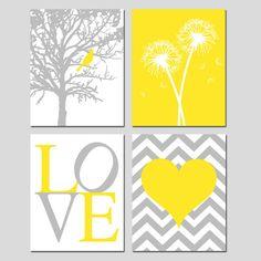 Hey, I found this really awesome Etsy listing at https://www.etsy.com/listing/184518244/yellow-gray-nursery-art-quad-bird-in-a