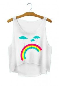 Crop top TĘCZA RAINBOW krótka koszulka przed pępek na lato damska dla dziewczyny bluzka na lato z nadrukiem printem kolorowa do kostiumu kąpielowego