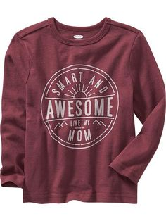 """Crew-Neck """"Smart & Awesome Like Mom"""" Long-Sleeve Tees for Baby Product Image"""