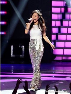 Jessica Sanchez of American Idol Season 11. Pantsuit by Ella Zahlan, and bebe shoes. Jewelry by Rich Rocks and bebe.
