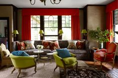 Jeffrey Bilhuber Tuxedo Park Home - Decor With Pattern Mixing. Persimmon & lime living room.