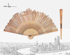 Shanghai breeze fan by Carl Liu 刘传凯 上海微风缅香木折扇
