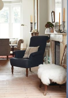 The armchair in the drawing room, which has been covered in wool felt, is probably the only new piece of furniture in the house.