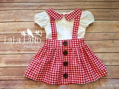 Handmade Girls Back to School Red & White by LaLaLandApparel Baby Dress Design, Baby Girl Dress Patterns, Frock Design, Baby Girl Frocks, Frocks For Girls, Little Girl Dresses, Fall Transition Outfits, Indian Designer Suits, Kids Frocks Design