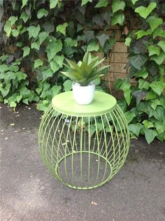 NEW Industrial Retro Green Metal Drum Round Side Table Stool Bedside Coffee