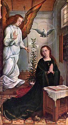 Juan de Flandes.  Annunciation.  Altarpiece of the Cathedral of Palencia.