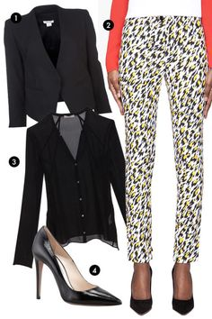 Short pants keep things from looking too corporate, making them the perfect option for a fashion-loving career girl. Ultimate shoe exposure requires attention to detail: Pick an elegant pump, sandal, or flat.1. Helmut Lang Tuxedo Jacket, $575; farfetch.com 2. Mugler White Leopard Print Applique Trousers, $1,000; ssense.com 3. Helmut Lang Ghost Silk Blouse, $220; intermixonline.com 4. Prada Patent Saffiano Pointed Toe Pumps, $620; neimanmarcus.com
