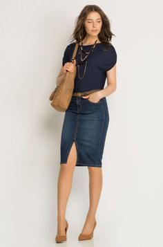 Boho Summer Outfits, Winter Skirt Outfit, Casual Fall Outfits, Classy Outfits, Layering Outfits, Denim Pencil Skirt Outfit, Denim Skirt Outfits, Pencil Skirts, Young Fashion