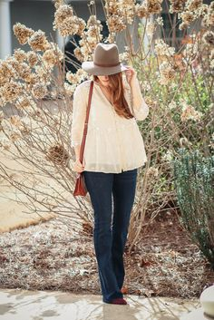 How to wear flare jeans via Peaches In A Pod blog. Flare jeans and Johnny Was embroidered top.
