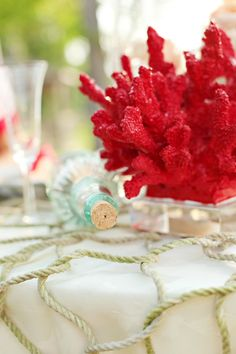 fish netting, coral (spray to match theme), glass bottle