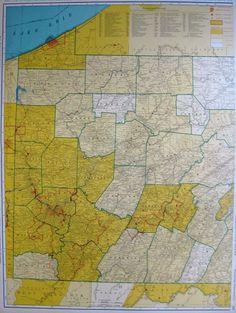 1940 Antique PENNSYLVANIA Map Set w RAILROADS Map of Pennsylvania State Map