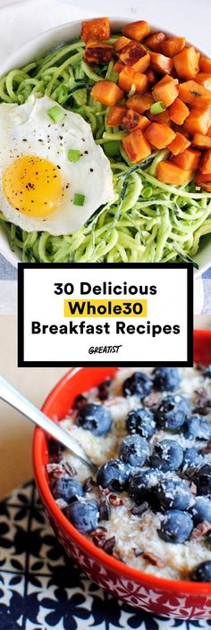 You can eat way more than just eggs. Make one of these breakfast recipes to start your day of clean eating the right way. Pin now to make one of these healthy breakfast recipes later! Whole 30 Diet, Paleo Whole 30, Whole 30 Recipes, Clean Eating Diet, Clean Eating Recipes, Healthy Eating, Healthy Recipes, Real Food Recipes, Cooking Recipes