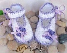 GRACE baby booties crochet pattern - Perfect for special occasion like Christening - Pattern No. 106