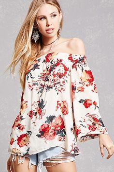 Floral Off-the-Shoulder Top Floral Lace, Floral Tops, Floral Prints, Floral Dresses, Stores Like Forever 21, Off The Shoulder, Latest Trends, Fitness Models, How To Wear