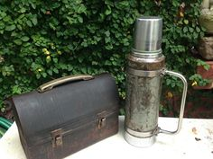 Antique Construction Lunchbox & Rustic Thermos Set Movie Prop Aladdin Stanley Stanley Thermos, Movie Props, Paint Chips, Of Wallpaper, Coolers, Visual Merchandising, Aladdin, Lunch Box, Construction