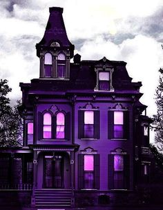 Purple Home . Purple Home, Shades Of Purple, Deep Purple, Second Empire, Gothic House, Purple Reign, All Things Purple, Purple Stuff, Purple Aesthetic
