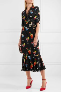 Dolce & Gabbana Lace-Trimmed Embellished Printed Crepe de Chine Dress $3,995, available at Net-a-Porter