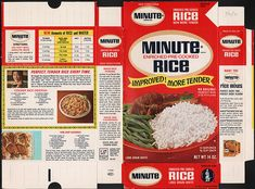 General Foods Minute Rice box file flat - July 20 1970