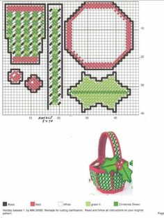 Plastic Canvas Christmas, Plastic Canvas Crafts, Plastic Canvas Patterns, Holiday Baskets, Christmas Projects, Needlepoint, Sewing Projects, Cross Stitch, Embroidery