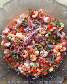 Shrimp ceviche is super easy to make, and has an incredibly fresh flavor that basically tastes like summer in your mouth! This seafood ceviche recipe is one of my favorite dishes to make and an absolute must-have for any summertime cocktail parties! Healthy Recipes, Fish Recipes, Seafood Recipes, Mexican Food Recipes, Cooking Recipes, Seafood Appetizers, Plantain Recipes, Seafood Menu, Shrimp Salad Recipes