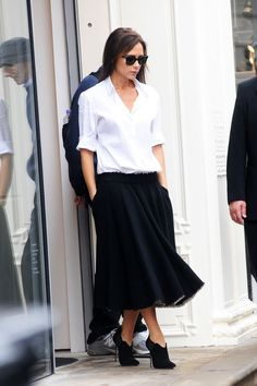 When You're A Minimalist, But Also A Spice Girl #refinery29  http://www.refinery29.com/2016/01/101670/victoria-beckham-street-style-pictures#slide-24  Back to black. Duh....