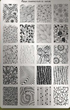 Organic black and white zentangle patterns in a 4 by 5 grid, featuring flowers, . - Organic black and white zentangle patterns in a 4 by 5 grid, featuring flowers, leaves and other na - Doodle Art Drawing, Zentangle Drawings, Doodles Zentangles, Zentangle Patterns, Art Drawings, Zen Doodle Patterns, Flower Drawings, Easy Zentangle, Zentangle Art Ideas