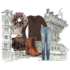 "03-03-2014 Monday ""Bruin vest met tijger shawl"" by kaatje60 on Polyvore"